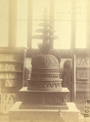 Small stupa from Loriyan Tangai, Peshawar District, photographed after restoration, on display in the Indian Museum, Calcutta 10031040